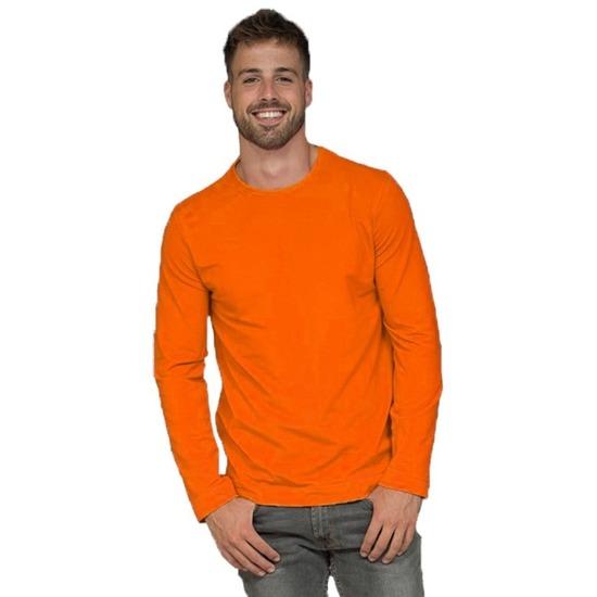 Fel oranje t shirt met lange mouwen