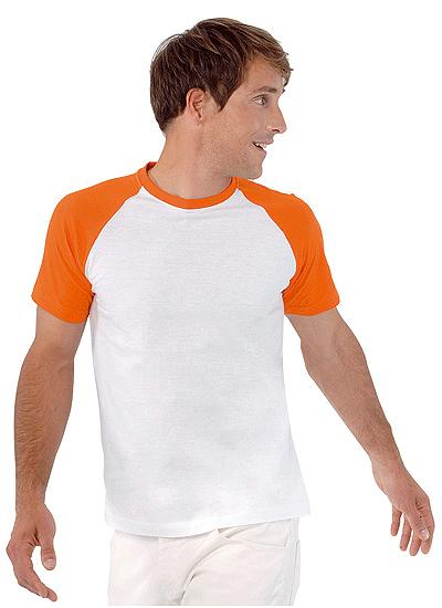 Baseball t shirt wit oranje