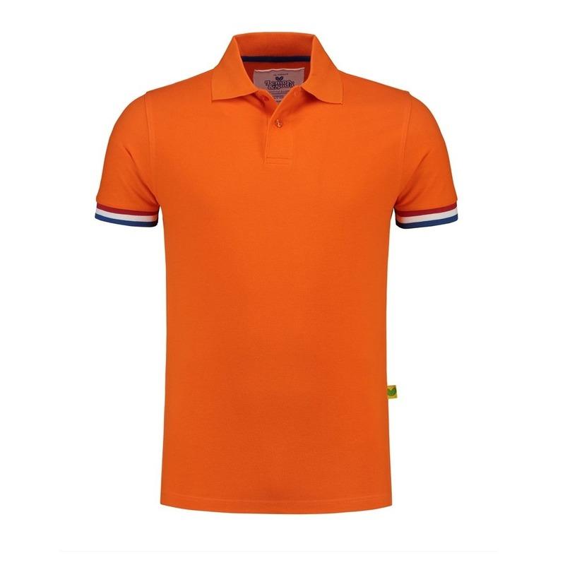 Oranje katoenen polo met nederlandse vlag voor heren