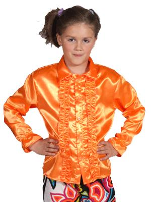 Oranje blouse met rouches kids