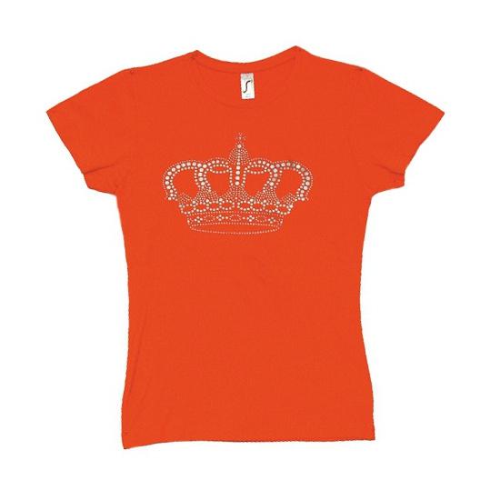 Nederland supporters t shirt met kroon voor dames