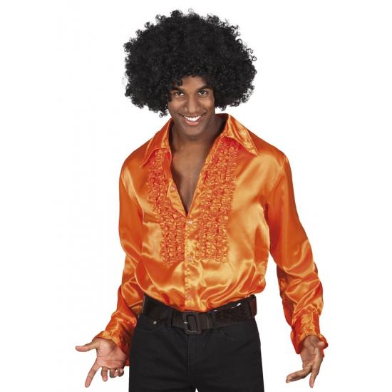 Oranje rouche overhemd voor heren