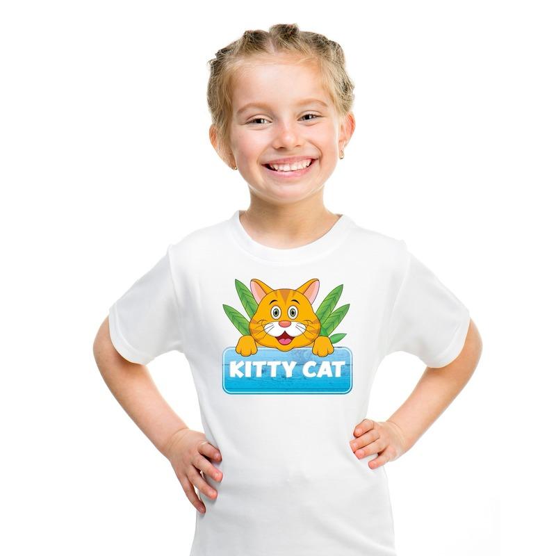 Katten dieren t shirt wit voor kinderen