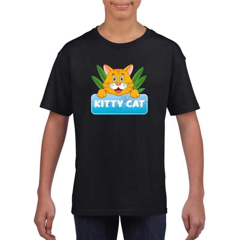 Katten dieren t shirt zwart voor kinderen
