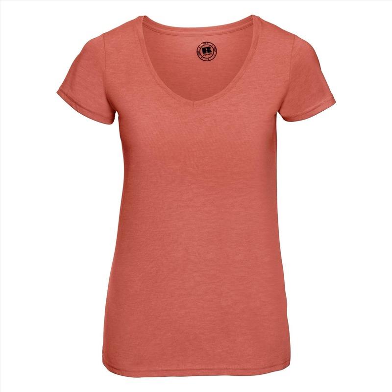 Koraal oranje dames t shirts met v hals