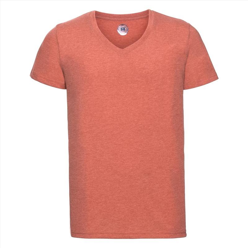 Koraal oranje heren t shirts met v hals
