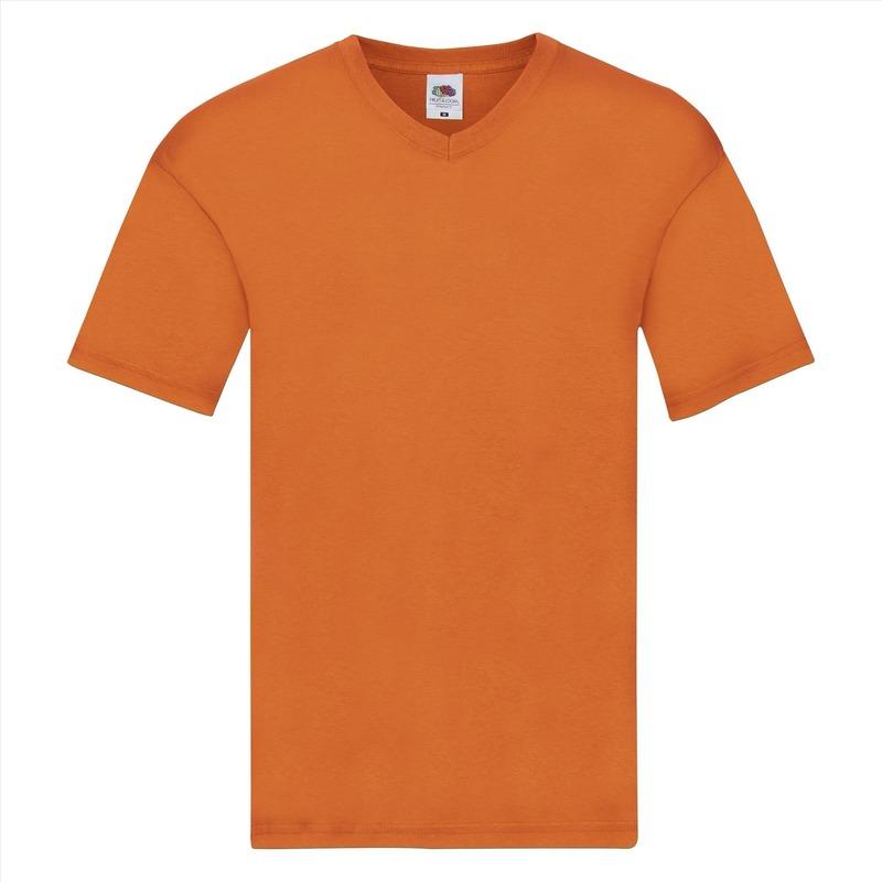 Oranje katoenen heren t shirts met v hals