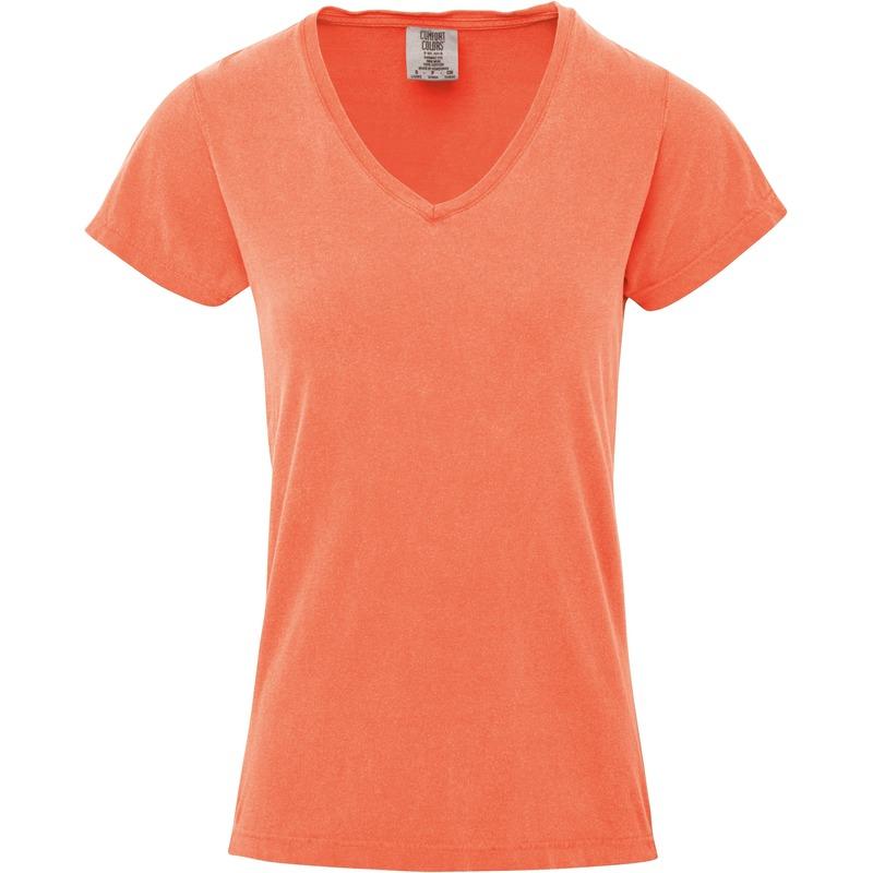 Perzik oranje dames t shirts met v hals