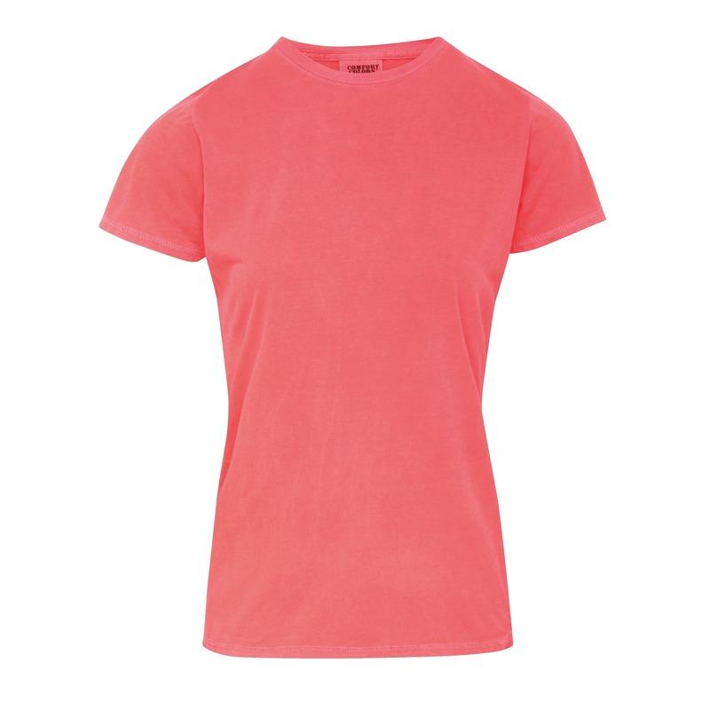 Neon oranje dames t shirts met ronde hals