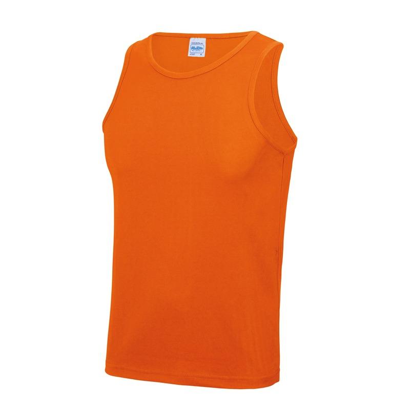 Sportkleding sneldrogende mouwloze shirts oranje voor mannen heren