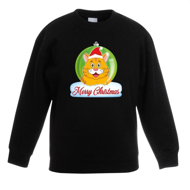Kersttrui oranje kat poes kerstbal zwart voor jongens en meisjes