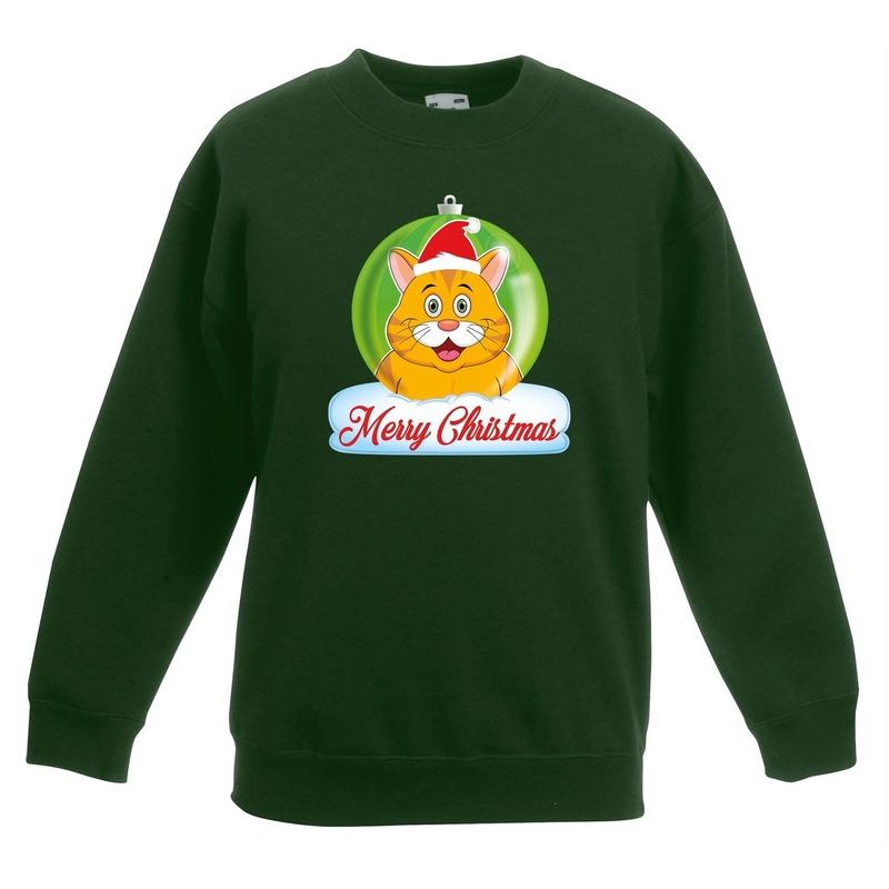 Kersttrui oranje kat poes kerstbal groen voor jongens en meisjes