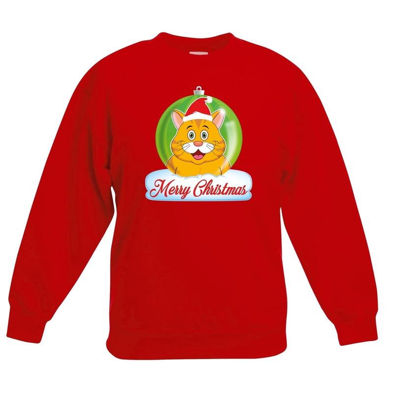 Kersttrui oranje kat poes kerstbal rood voor jongens en meisjes