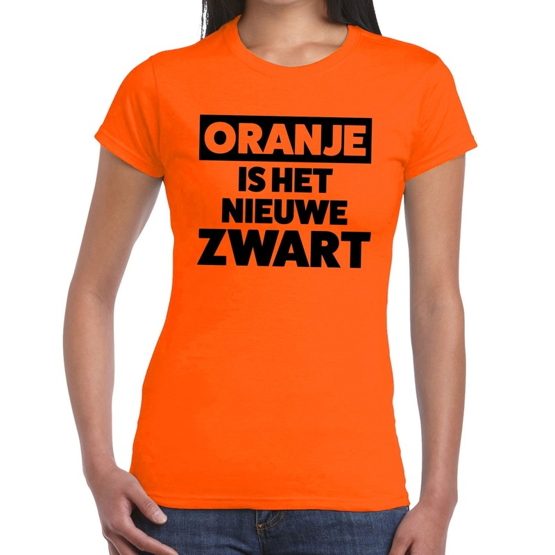 Koningsdag fun t shirt oranje is het nieuwe zwart dames