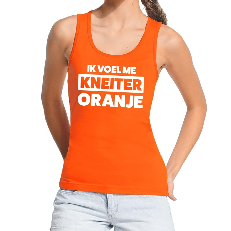 Koningsdag fun singlet tanktop ik voel me kneiter oranje dames