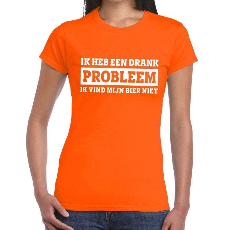 Ik heb een drankprobleem t shirt oranje dames