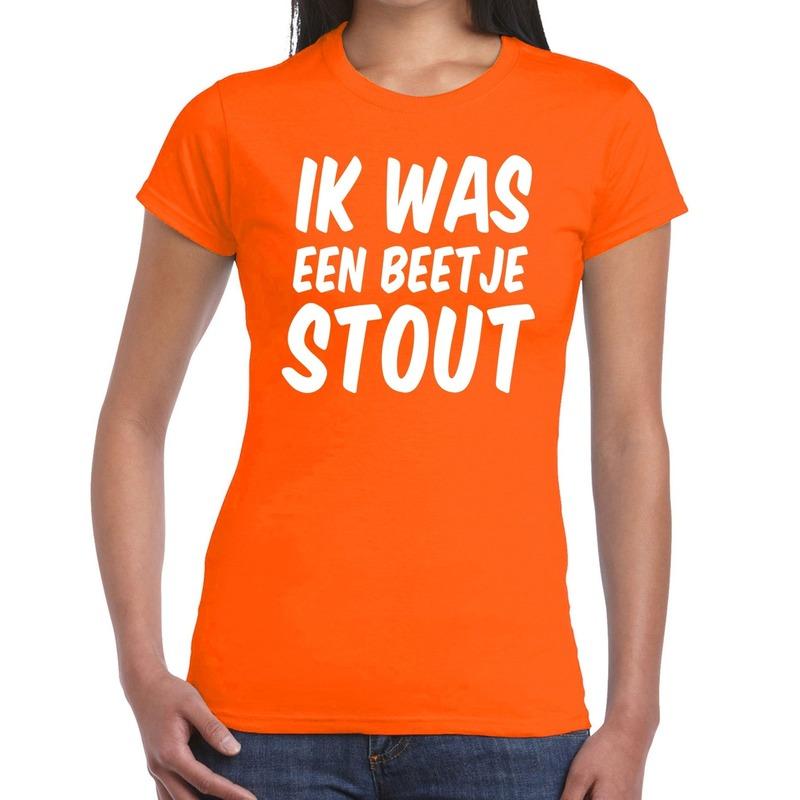 Ik was een beetje stout t-shirt oranje dames