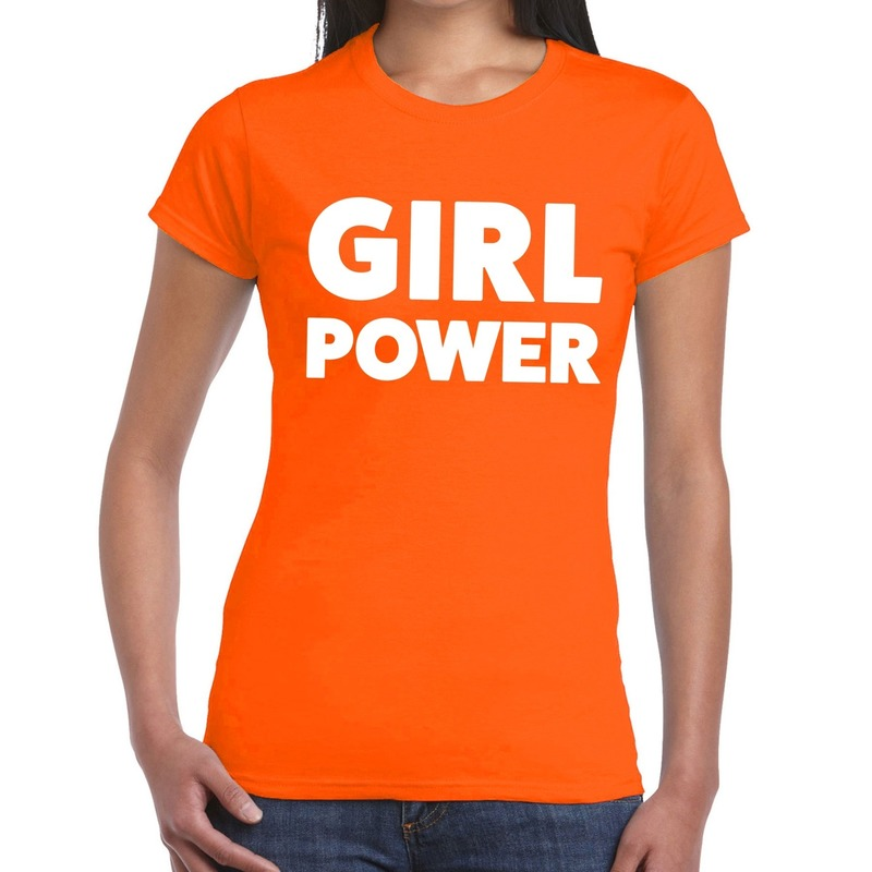 Girl power t shirt oranje dames