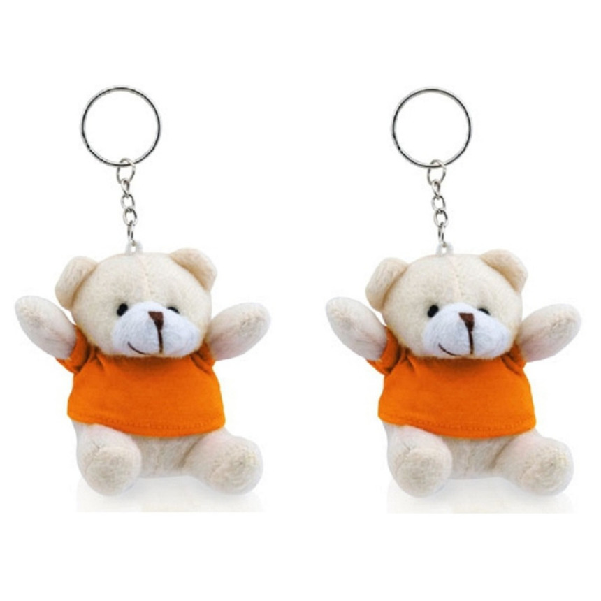 5x stuks sleutelhangers beer met oranje shirt