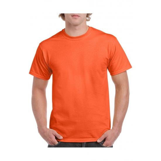 Set van 2x stuks oranje t-shirts voordelig maat l