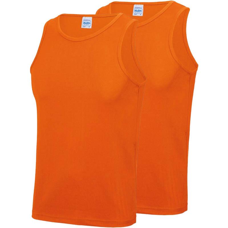 Multipack 2x maat l sportkleding sneldrogende mouwloze shirts oranje voor mannen heren