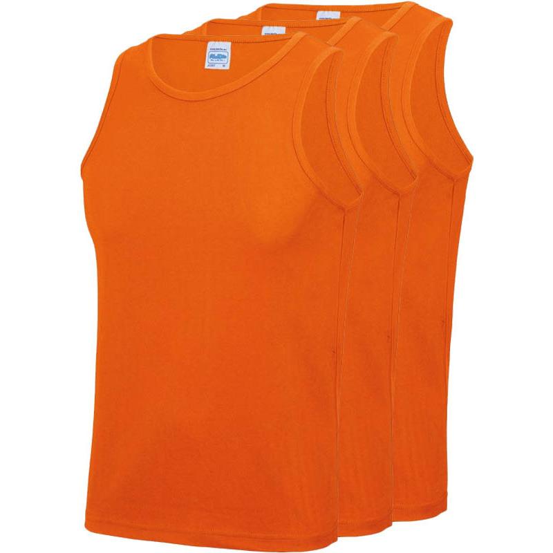 Multipack 3x maat m sportkleding sneldrogende mouwloze shirts oranje voor mannen heren