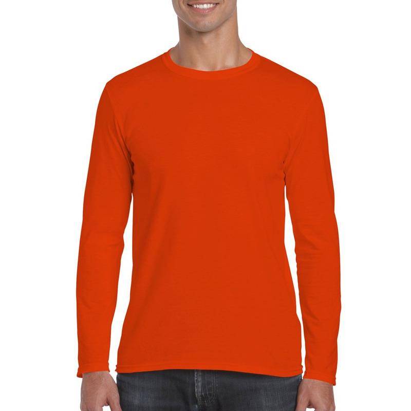 Basic heren t shirt oranje met lange mouwen