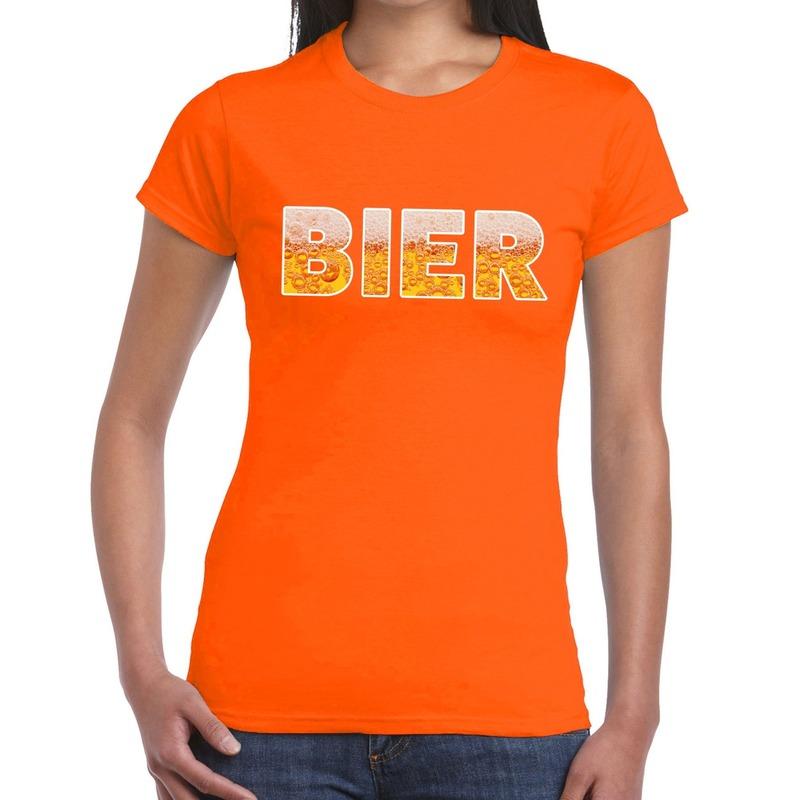 Bier fun t-shirt oranje voor dames