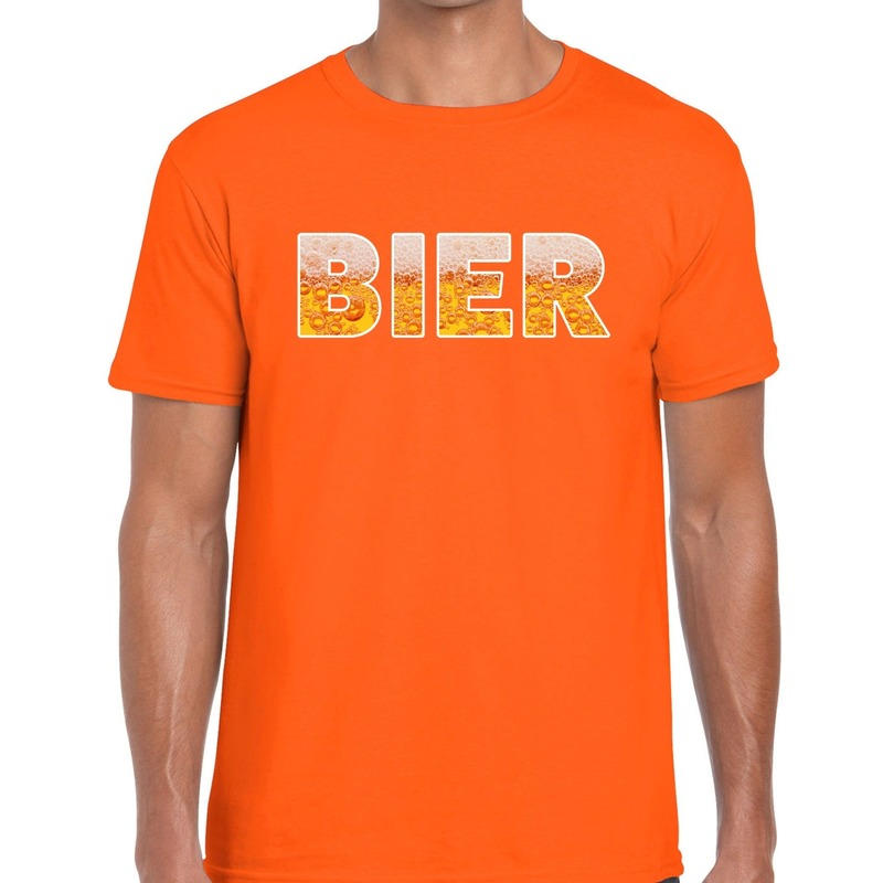 Bier fun t shirt oranje voor heren