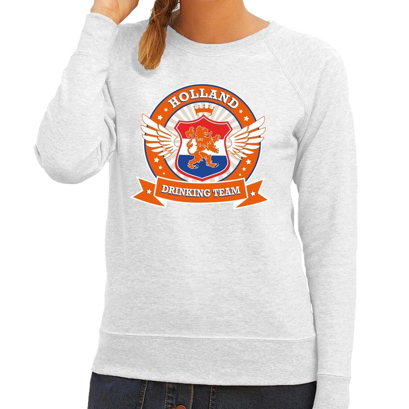 Holland drinking team sweater grijs dames