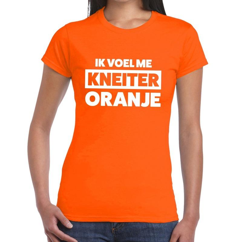 Koningsdag fun t shirt ik voel me kneiter oranje dames
