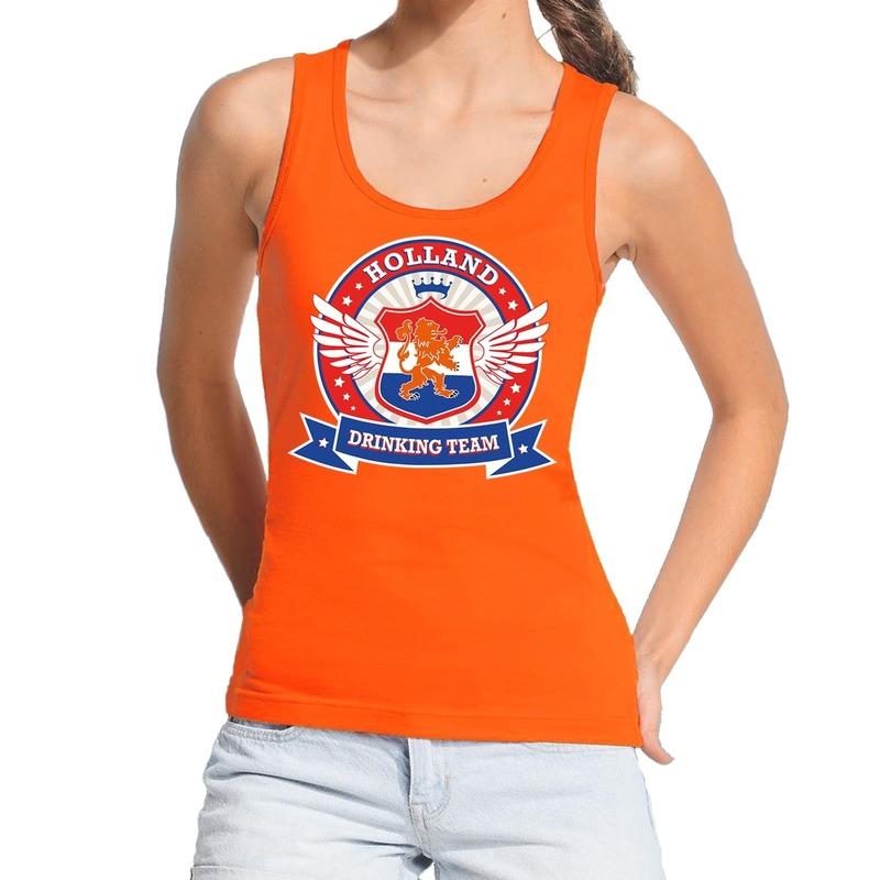 Holland drinking team tanktop mouwloos shirt oranje dames