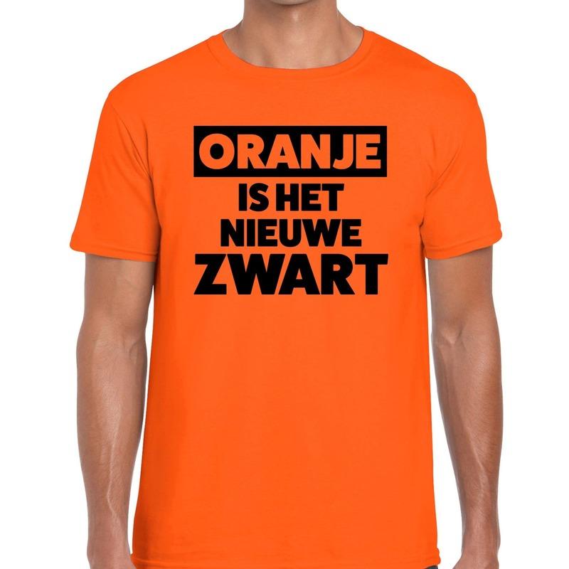 Koningsdag fun t shirt oranje is het nieuwe zwart heren