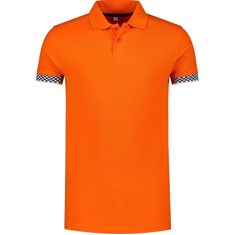 Oranje katoenen polo met finish vlag voor heren
