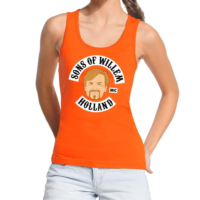 Sons of willem tanktop / mouwloos shirt oranje dames