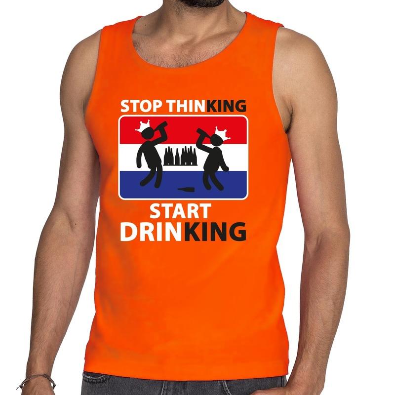 Stop thinking start drinking tanktop mouwloos shirt oranje heren