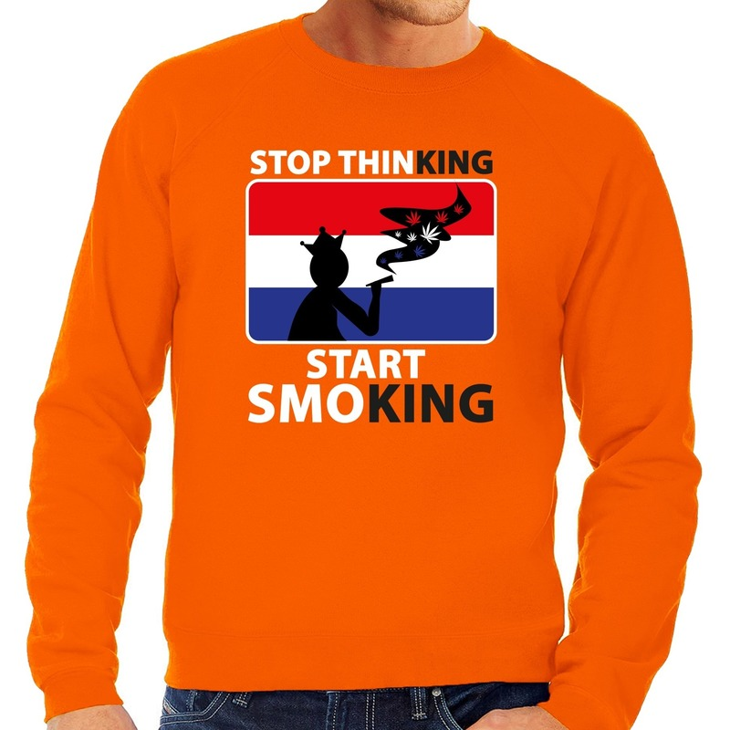 Stop thinking start smoking sweater oranje heren