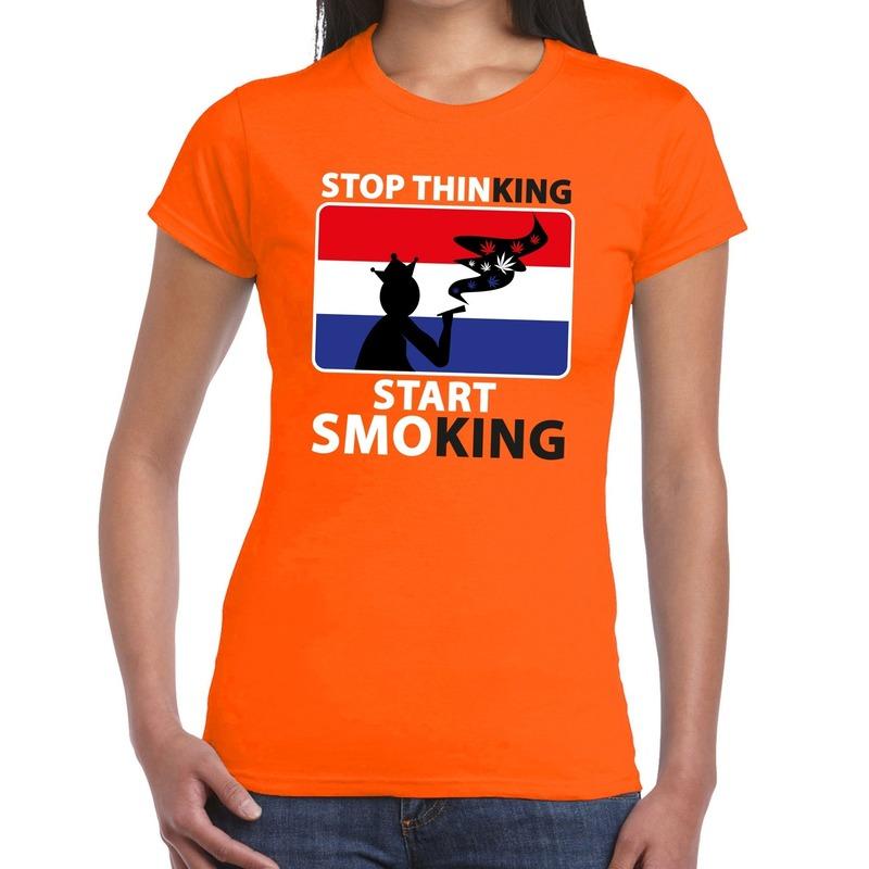 Stop thinking start smoking t shirt oranje dames