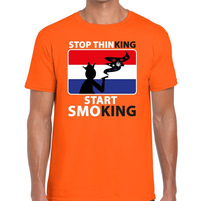 Stop thinking start smoking t shirt oranje heren