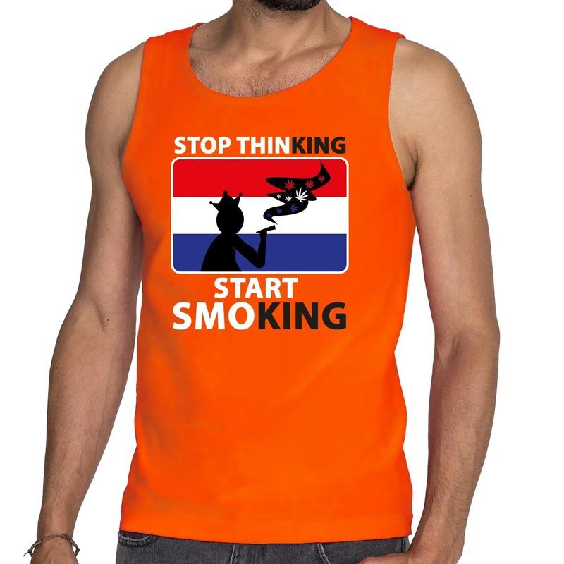 Stop thinking start smoking tanktop mouwloos shirt oranje heren