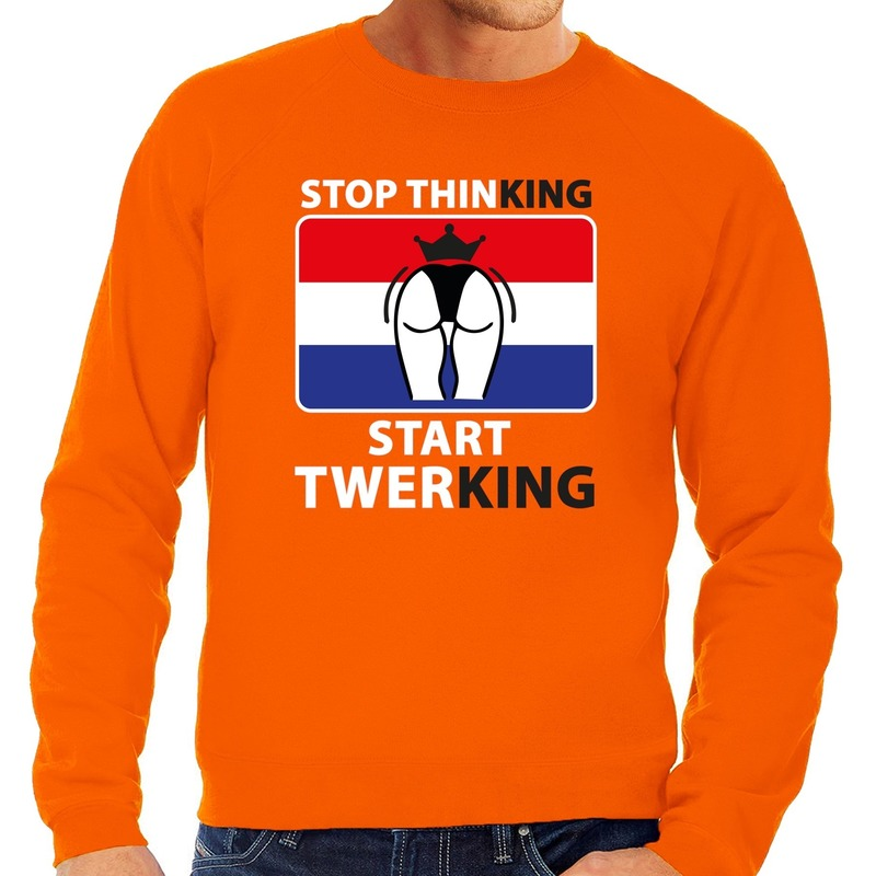 Stop thinking start twerking sweater oranje heren
