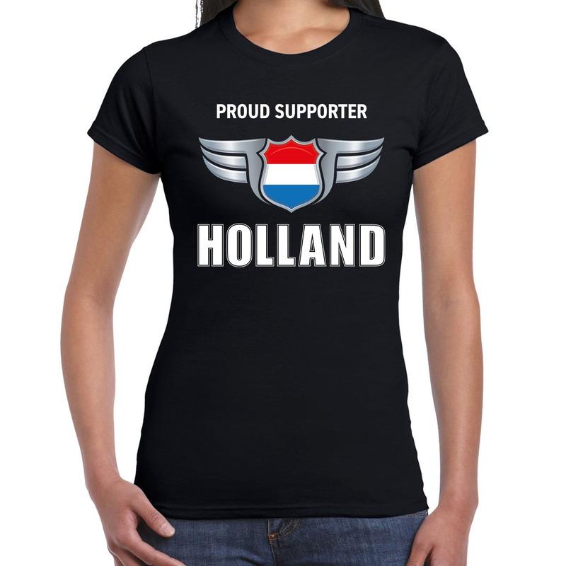 Nederland landen shirt zwart met proud supporter holland songfestival bedrukking voor dames