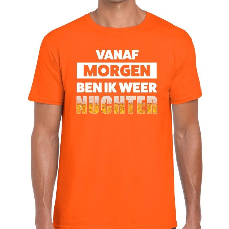 Vanaf morgen ben ik weer nuchter fun t shirt oranje voor heren