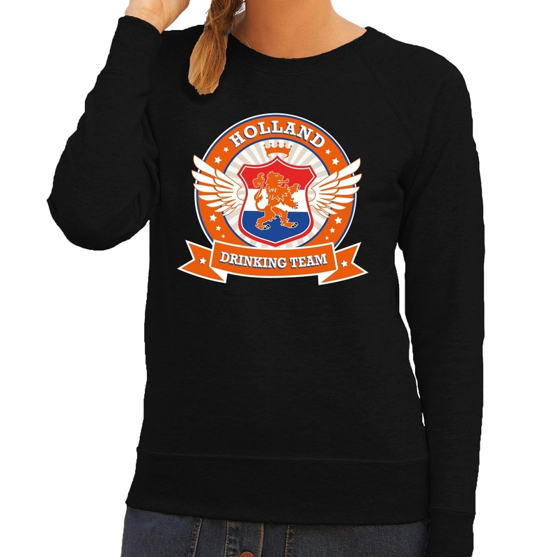 Holland drinking team sweater zwart oranje dames